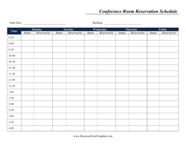 Weekly Conference Room Reservation Business Form Template