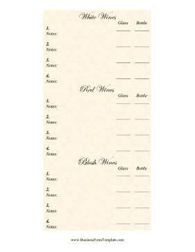 Wine List Business Form Template