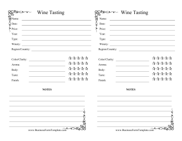 Wine tasting log template for Wine tasting journal template