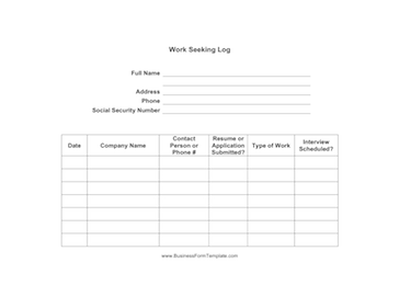 Work Seeking Log Template - Production work order template