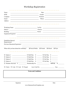 Workshop Registration Form Business Form Template