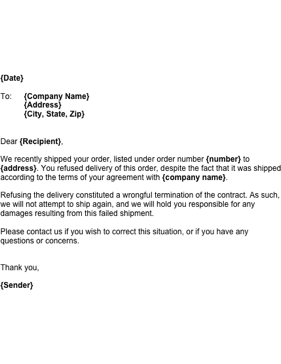 Wrongful Delivery Refusal Business Form Template