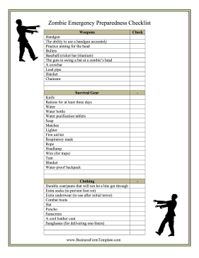 graphic regarding Printable Survival Cards named Zombie Survival Record Template