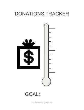 Donations Tracker Thermometer Business Form Template