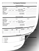 Tax Organization Worksheet (two pages) Business Form Template